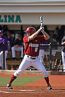 Boston College outfielder Matt McGovern #18 at bat during a game against the James Madison University Dukes at Watson Stadium at Vrooman Field on February 18, 2012 in Conway, SC.  Boston College defeated James Madison 8-5.  (Robert Gurganus/Four Seam Images)
