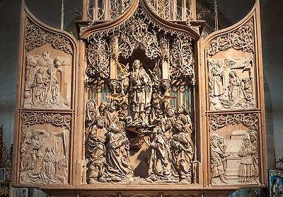 Germany, Baden-Wuerttemberg, Tauber Valley, Creglingen: Riemenschneider-Altar at God's church   Deutschland, Baden-Wuerttemberg, Taubertal, Creglingen: Riemenschneider-Altar in der Hergottskirche, Marien-Retabel