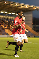 Yann Songo'o of Morecambe celebrates the visitors second goal during Colchester United vs Morecambe, Sky Bet EFL League 2 Football at the JobServe Community Stadium on 19th December 2020