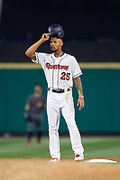 Rochester Red Wings center fielder Byron Buxton (25) stands on second base during a game against the Lehigh Valley IronPigs on June 30, 2018 at Frontier Field in Rochester, New York.  Lehigh Valley defeated Rochester 6-2.  (Mike Janes/Four Seam Images)