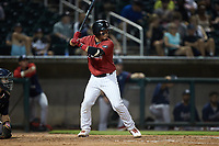 Carlos Pérez (18) of the Birmingham Barons at bat against the Mississippi Braves at Regions Field on August 3, 2021, in Birmingham, Alabama. (Brian Westerholt/Four Seam Images)