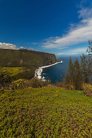 A view of historic Waipi'o Valley from a lookout point along the Hamakua Coast on the Big Island of Hawai'i.