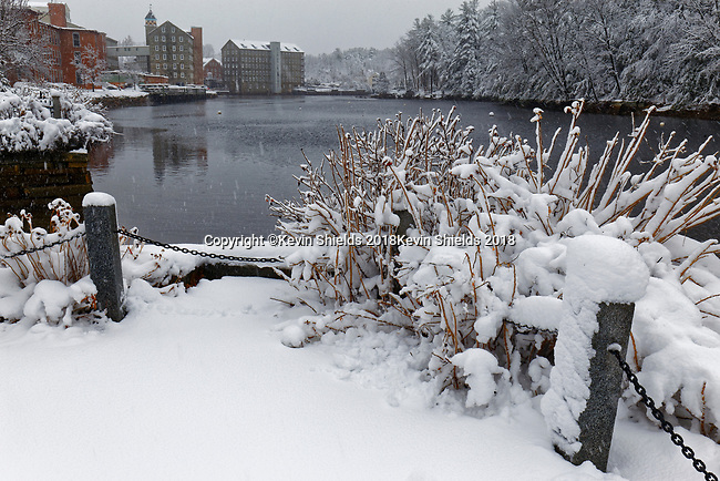 Winter view of Newmarket, New Hampshire, USA