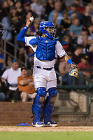 AFL West catcher Meibrys Viloria (9), of the Surprise Saguaros and Kansas City Royals organization, throws back to the pitcher during the Arizona Fall League Fall Stars game at Surprise Stadium on November 3, 2018 in Surprise, Arizona. The AFL West defeated the AFL East 7-6 . (Zachary Lucy/Four Seam Images)