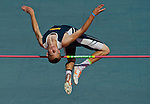 """Perryville High School's Cameron Cunningham competes at 5'6"""" in the high jump at the 1A/2A Maryland State Track and Field Championships at Morgan University in Baltimore, Maryland on May 24, 2012"""