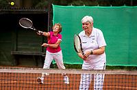 Hilversum, The Netherlands,  August 20, 2021,  Tulip Tennis Center, NKS, National Senior Tennis Championships, Women's Doubles 70+, Wil Baks (NED) (R) and Patricia Blaas-van den Heuvel (NED)<br /> Photo: Tennisimages/Henk Koster