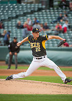Drew Rucinski (22) of the Salt Lake Bees delivers a pitch to the plate against the Oklahoma City Dodgers in Pacific Coast League action at Smith's Ballpark on May 27, 2015 in Salt Lake City, Utah.  (Stephen Smith/Four Seam Images)