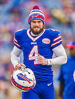 14 December 2014: Buffalo Bills kicker Jordan Gay concludes his pre-game warm ups prior to facing the Green Bay Packers at Ralph Wilson Stadium in Orchard Park, NY. The Bills defeated the Packers 21-13, snapping the Packers' 5-game winning streak and keeping the Bills' 2014 playoff hopes alive. Mandatory Credit: Ed Wolfstein Photo *** RAW (NEF) Image File Available ***