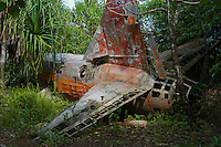 "Aircraft wreck from the IIWW in the jungle on the small Island of Yap know for its Stone Money located in the South Pacific and is part of Micronesia. Time has stood still in this part of the world and the Yapese treasure even today their culture and tradition. Women walking around topless without a shame and go about their daily life. But Yap is also famous for its ""resident"" large Manta Rays and many other amazing ddive sites. Yap, Micronesia"