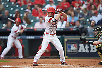 Hunter Kasuls (19) of the Louisiana Ragin' Cajuns at bat against the Vanderbilt Commodores in game five of the 2018 Shriners Hospitals for Children College Classic at Minute Maid Park on March 3, 2018 in Houston, Texas.  The Ragin' Cajuns defeated the Commodores 3-0.  (Brian Westerholt/Four Seam Images)