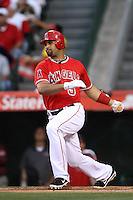 Albert Pujols #5 of the Los Angeles Angels bats against the Seattle Mariners at Angel Stadium on June 5, 2012 in Anaheim,California. Los Angeles defeated Seattle 6-1.(Larry Goren/Four Seam Images)