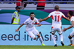 Baha' Abdelrahman of Jordan (L) celebrates after scoring his goal with teammates during the AFC Asian Cup UAE 2019 Round of 16 match between Jordan (JOR) and Vietnam (VIE) at Al Maktoum Stadium on 20 January 2019 in Dubai, United Arab Emirates. Photo by Marcio Rodrigo Machado / Power Sport Images