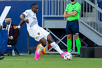 CARSON, CA - JUNE 19: Sega Coulibaly #4 of the Los Angeles Galaxy passes off the ball during a game between Seattle Sounders FC and Los Angeles Galaxy at Dignity Health Sports Park on June 19, 2021 in Carson, California.