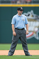 Third base umpire Jeff Gosney during the International League game between the Gwinnett Braves and the Charlotte Knights at BB&T BallPark on July 3, 2015 in Charlotte, North Carolina.  The Braves defeated the Knights 11-4 in game one of a day-night double header.  (Brian Westerholt/Four Seam Images)