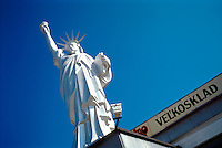 Replica of Statue of Liberty on building of grocery distributor. 1031527. Pezinok, Slovakia.