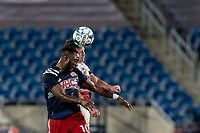 FOXBOROUGH, MA - AUGUST 21: Mayele Malango #10 of New England Revolution II and Ian Antley #2 of Richmond Kickers battle for head ball during a game between Richmond Kickers and New England Revolution II at Gillette Stadium on August 21, 2020 in Foxborough, Massachusetts.