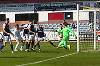 24th April 2021; Dens Park, Dundee, Scotland; Scottish Championship Football, Dundee FC versus Raith Rovers; Kyle Benedictus of Raith Rovers scores for 2-1 in the 87th minute