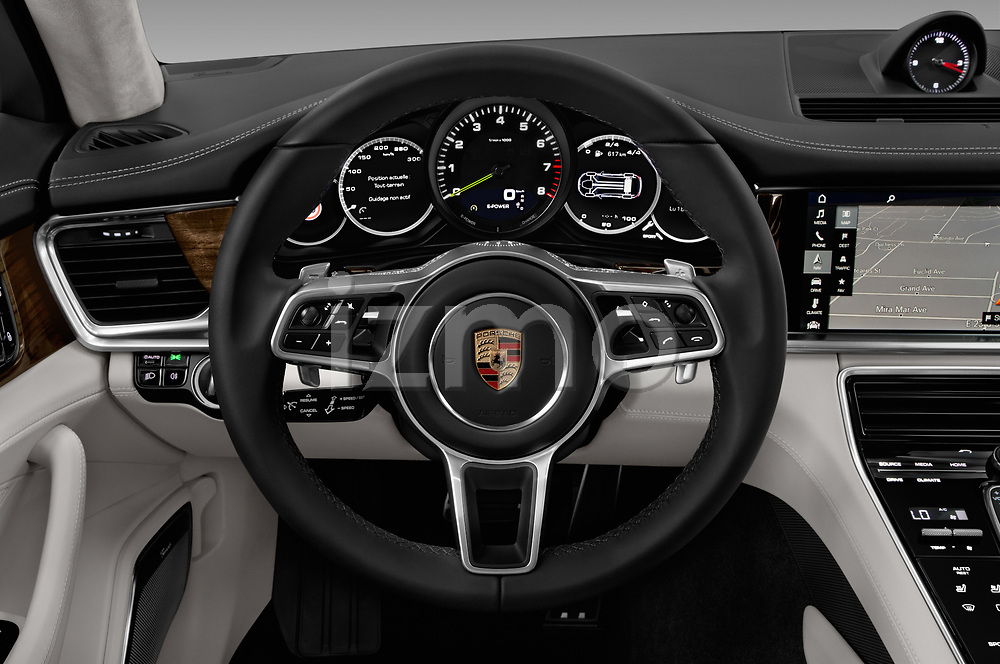 Car pictures of steering wheel view of a 2018 Porsche Panamera Turbo Base 5 Door Hatchback