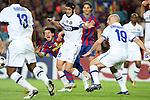 Football - FC Barcelona v Inter Milan UEFA Champions League Semi Final Second Leg - Camp Nou Stadium, Barcelona, Spain - 28/4/10 Inter Milan's Chivu and Esteban Cambiasso and  Lionel Messi of Barcelona
