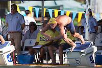 Santa Clara, California - Friday June 3, 2016: Josh Prenot dives in for his win during the Men's 100 LC Meter Breaststroke in the A final.