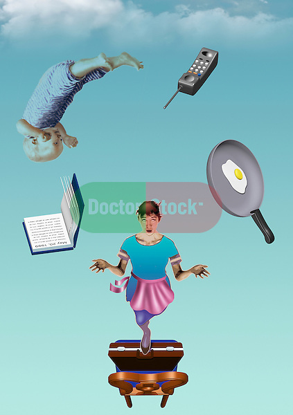 illustration of woman juggling symbols of modern life as professional and mother, stress, pressure, lifestyle, women's issues, work