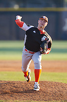 Bowling Green Falcons relief pitcher Ethan McKenney (14) in action against the High Point Panthers at Willard Stadium on March 9, 2014 in High Point, North Carolina.  The Falcons defeated the Panthers 7-4.  (Brian Westerholt/Four Seam Images)