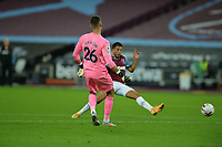 Karl Darlow of Newcastle United just beats Pablo Fornals of West Ham United to the ball during West Ham United vs Newcastle United, Premier League Football at The London Stadium on 12th September 2020