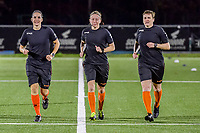 assistant referee Caroline Lanssens , referee Lois Otte , assistant referee Ella De Vries pictured before a female soccer game between  Racing Genk Ladies and Club Brugge YLA on the 10 th matchday of the 2020 - 2021 season of Belgian Scooore Womens Super League , friday 18 th of December 2020  in Genk , Belgium . PHOTO SPORTPIX.BE | SPP | STIJN AUDOOREN