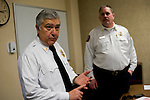 SOUTHBURY, CT- 4 December 2014-120414EC04--   Southbury Fire Marshal Barry Rickert discusses fire safety for the holiday season at Town Hall Thursday. Behind him is Deputy Fire Marshall Tim Baldwin. Erin Covey Republican-American
