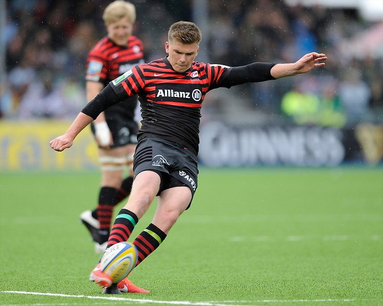 20130512 Copyright onEdition 2013©.Free for editorial use image, please credit: onEdition..Owen Farrell of Saracens takes a penalty kick during the Premiership Rugby semi final match between Saracens and Northampton Saints at Allianz Park on Sunday 12th May 2013 (Photo by Rob Munro)..For press contacts contact: Sam Feasey at brandRapport on M: +44 (0)7717 757114 E: SFeasey@brand-rapport.com..If you require a higher resolution image or you have any other onEdition photographic enquiries, please contact onEdition on 0845 900 2 900 or email info@onEdition.com.This image is copyright onEdition 2013©..This image has been supplied by onEdition and must be credited onEdition. The author is asserting his full Moral rights in relation to the publication of this image. Rights for onward transmission of any image or file is not granted or implied. Changing or deleting Copyright information is illegal as specified in the Copyright, Design and Patents Act 1988. If you are in any way unsure of your right to publish this image please contact onEdition on 0845 900 2 900 or email info@onEdition.com