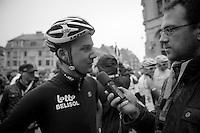 53rd Brabantse Pijl 2013..Tim Wellens (BEL) interviewed by Sporza