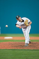 Coastal Carolina Chanticleers relief pitcher Andrew Beckwith (41) delivers a pitch to the plate against the Bryant Bulldogs at Springs Brooks Stadium on March 13, 2015 in Charlotte, North Carolina.  The Chanticleers defeated the Bulldogs 7-2.  (Brian Westerholt/Four Seam Images)
