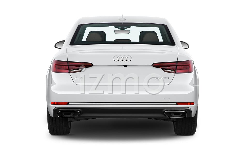Straight rear view of a 2019 Audi A4 Premium 4 Door Sedan stock images