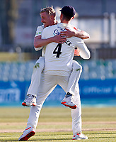 Luke Wood of Lancashire celebrates taking the wicket of Joe Denly (background) during Kent CCC vs Lancashire CCC, LV Insurance County Championship Group 3 Cricket at The Spitfire Ground on 23rd April 2021