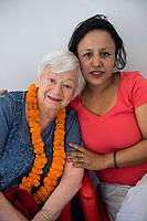 Nepal, Kathmandu. OlgaPuri Children's Village opening. Olga Murray, founder and Sajani.
