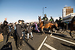 © Joel Goodman - 07973 332324 . 22/10/2016 . Margate , UK . Mounted police attempt to separate marchers and anti fascist protesters . A White Lives Matter protest and march , opposed by antifascists , is held in Margate , Kent . Photo credit : Joel Goodman