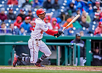 15 April 2018: Washington Nationals outfielder Michael A. Taylor doubles to right in the 6th inning against the Colorado Rockies at Nationals Park in Washington, DC. All MLB players wore Number 42 to commemorate the life of Jackie Robinson and to celebrate Black Heritage Day in pro baseball. The Rockies edged out the Nationals 6-5 to take the final game of their 4-game series. Mandatory Credit: Ed Wolfstein Photo *** RAW (NEF) Image File Available ***