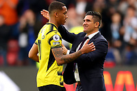 25th September 2021; Vicarge Road, Watford, Herts,  England;  Premier League football, Watford versus Newcastle; Watford Manager Xisco with João Pedro after the 1-1 draw