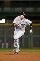 Salt River Rafters Grayson Greiner (15), of the Detroit Tigers organization, during a game against the Scottsdale Scorpions on October 12, 2016 at Scottsdale Stadium in Scottsdale, Arizona.  Salt River defeated Scottsdale 6-4.  (Mike Janes/Four Seam Images)