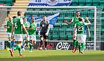 Hibs v St Johnstone….24.08.19      Easter Road     SPFL <br />Adam Jackson celebrates his goal with Scott Allan<br />Picture by Graeme Hart. <br />Copyright Perthshire Picture Agency<br />Tel: 01738 623350  Mobile: 07990 594431