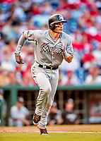 26 September 2018: Miami Marlins first baseman Derek Dietrich hustles to first on a single in the 4th inning against the Washington Nationals at Nationals Park in Washington, DC. The Nationals defeated the visiting Marlins 9-3, closing out Washington's 2018 home season. Mandatory Credit: Ed Wolfstein Photo *** RAW (NEF) Image File Available ***