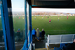 Pickering fans watching the game in front of the Jamie Vardy Stand. Stocksbridge Park Steels v Pickering Town,  Evo-Stik East Division, 17th November 2018. Stocksbridge Park Steels were born from the works team of the local British Steel plant that dominates the town north of Sheffield.<br /> Having missed out on promotion via the play offs in the previous season, Stocksbridge were hovering above the relegation zone in Northern Premier League Division One East, as they lost 0-2 to Pickering Town. Stocksbridge finished the season in 13th place.