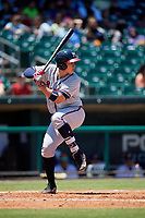 Mississippi Braves first baseman Joey Meneses (33) at bat during a game against the Montgomery Biscuits on April 25, 2017 at Montgomery Riverwalk Stadium in Montgomery, Alabama.  Mississippi defeated Montgomery 3-2.  (Mike Janes/Four Seam Images)