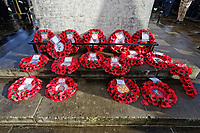 Pictured: Wreaths laid by the Cenotaph. Sunday 11 November 2018<br /> Re: Commemoration for the 100 years since the end of the First World War on Remembrance Day at the Swansea Cenotaph in south Wales, UK.