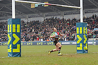 20130309 Copyright onEdition 2013©.Free for editorial use image, please credit: onEdition..Tom Williams of Harlequins runs half the pitch to score a try between the posts during the LV= Cup semi final match between Harlequins and Bath Rugby at The Twickenham Stoop on Saturday 9th March 2013 (Photo by Rob Munro)..For press contacts contact: Sam Feasey at brandRapport on M: +44 (0)7717 757114 E: SFeasey@brand-rapport.com..If you require a higher resolution image or you have any other onEdition photographic enquiries, please contact onEdition on 0845 900 2 900 or email info@onEdition.com.This image is copyright onEdition 2013©..This image has been supplied by onEdition and must be credited onEdition. The author is asserting his full Moral rights in relation to the publication of this image. Rights for onward transmission of any image or file is not granted or implied. Changing or deleting Copyright information is illegal as specified in the Copyright, Design and Patents Act 1988. If you are in any way unsure of your right to publish this image please contact onEdition on 0845 900 2 900 or email info@onEdition.com