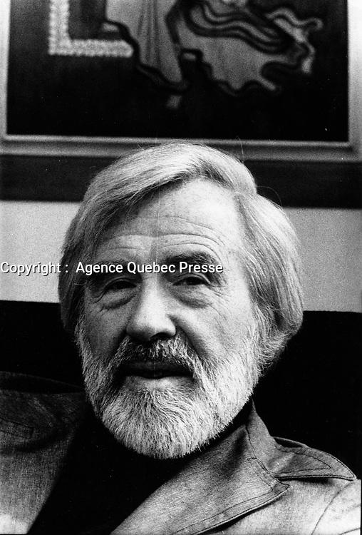 EXCLUSIVE FILE PHOTO - Gratien Gelinas<br /> on April 16, 1975.<br /> <br /> <br /> <br /> Photo : AQP - Alain Renaud