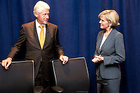 New York, Sept 21, 2014. Australian Foreign Minister Julie Bishop meets with former US President Bill Clinton during her visit to New York. photo by Trevor Collens