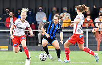 Essevee's Laura Vervacke pictured defending on Brugge's Jody Vangheluwe during a female soccer game between Club Brugge Dames YLA and Zulte Waregem Ladies on the third matchday of the 2020 - 2021 season of Belgian Scooore Womens Super League , saturday 3 October 2020  in Brugge , Belgium . PHOTO SPORTPIX.BE | SPP | DAVID CATRY
