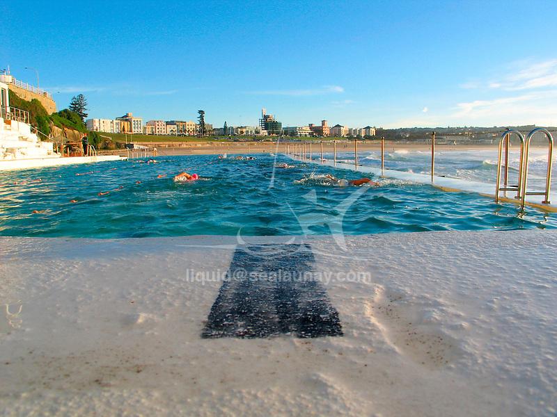 Training session at the Bondi Icebergs swimming club, Bondi Beach, Sydney in Australia.