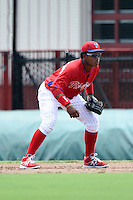 GCL Phillies first baseman Luis Encarnacion (22) during a game against the GCL Pirates on June 26, 2014 at the Carpenter Complex in Clearwater, Florida.  GCL Phillies defeated the GCL Pirates 6-2.  (Mike Janes/Four Seam Images)